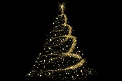 Christmas Tree decorated and modern. Beautiful Christmas Tree decorated and modern on black background with sparks Royalty Free Stock Images