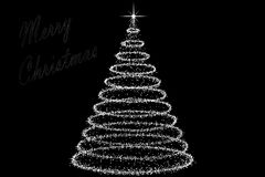 Christmas Tree decorated and modern. Beautiful Christmas Tree decorated and modern on black background with star Stock Images