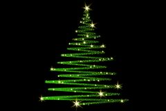 Christmas Tree decorated and modern. Beautiful Christmas Tree decorated and modern on black background with stars Royalty Free Stock Images