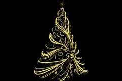 Christmas Tree decorated and modern. Beautiful Christmas Tree decorated and modern on black background with stars Royalty Free Stock Photo