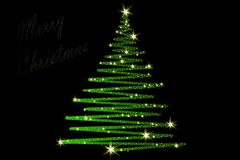 Christmas Tree decorated and modern. Beautiful Christmas Tree decorated and modern on black background with text Stock Photos