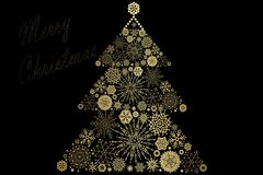 Christmas Tree decorated and modern. Beautiful Christmas Tree decorated and modern on black background with text Stock Image
