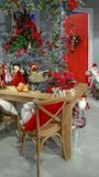 Beautiful Christmas tree decoration and table setting stock images