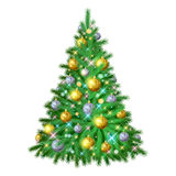 Beautiful christmas tree with decorations. Beautiful glowing shiny colorful christmas tree with decorations. New year holiday vector illustration. Golden and Royalty Free Stock Images