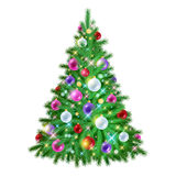 Beautiful christmas tree with decorations. Beautiful glowing shiny colorful christmas tree with decorations. New year holiday vector illustration. Red, pink Royalty Free Stock Images