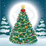 Beautiful Christmas Tree EPS 10. Beautiful Christmas Tree with Toys and Garland Lights on the background of the night sky, full Moon Stock Photos