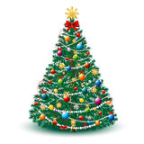 Beautiful Christmas Tree EPS 10. Beautiful Christmas Tree with Toys and Garland Lights. Vector AI EPS 10 file Stock Image