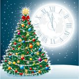 Beautiful Christmas Tree EPS 10. Beautiful Christmas Tree with Toys and Garland Lights on the background of the night sky, full moon and the large clock showing Royalty Free Stock Photos