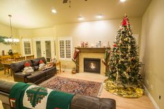 Beautiful Christmas tree and fireplace with cat relaxing on couch. Beautiful decorated Christmas tree and fireplace a night with glowing lights and cat resting Royalty Free Stock Image