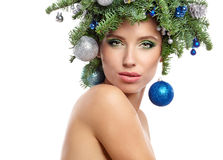 Beautiful  Christmas Tree Holiday Hairstyle and Make Royalty Free Stock Image