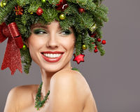 Beautiful  Christmas Tree Holiday Hairstyle and Make Royalty Free Stock Photography
