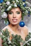 Beautiful  Christmas Tree Holiday Hairstyle and Make Royalty Free Stock Photo