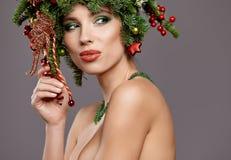 Beautiful  Christmas Tree Holiday Hairstyle and Make Stock Image