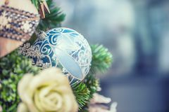 Beautiful christmas tree home resaurant shop or hote. Elegant Ch Royalty Free Stock Photography