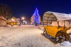 Beautiful Christmas tree at Krupowki street in Zakopane Royalty Free Stock Photo