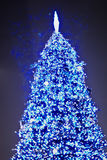 Beautiful christmas tree at night 2011. Shiny christmas Tree Lights at Night background Stock Photography