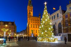 Beautiful Christmas tree in old town of Gdansk. Poland Stock Photos
