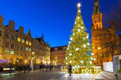 Beautiful Christmas tree in old town of Gdansk. Poland Royalty Free Stock Photos