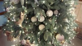 Beautiful Christmas tree with ornaments stock video