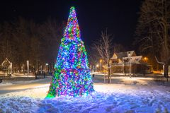 Beautiful Christmas tree in the park. Of Zakopane, Poland Royalty Free Stock Images
