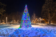 Beautiful Christmas tree in the park of Zakopane Stock Image