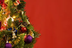 Beautiful Christmas Tree On Red Background Royalty Free Stock Photography