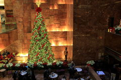 Beautiful Christmas tree in restaurant of lobby,Trump Towers,NYC, 2015 Stock Image