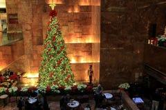 Beautiful Christmas tree in restaurant of lobby,Trump Towers,NYC, 2015 Stock Image