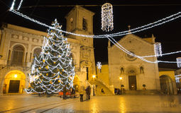 Beautiful christmas tree in the San Benedetto Norcia square Stock Photography
