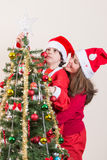 Beautiful Christmas Tree Scene Stock Photography