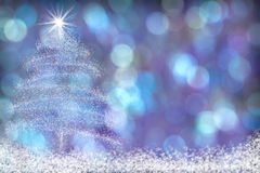 Beautiful Christmas Tree Snow Background Blue Purple Stock Photography