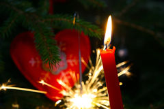 Christmas candle, new years eve Stock Images