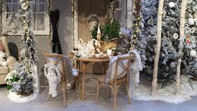 Beautiful Christmas tree, table y room decoration royalty free stock images