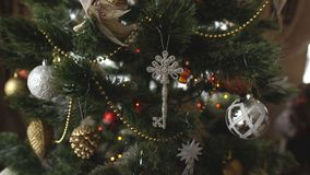 Beautiful Christmas tree toy, happy new year stock footage