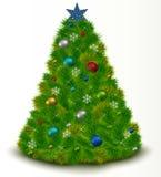 Beautiful Christmas tree with toys, snowflakes, tw Stock Photo