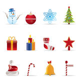 Beautiful Christmas And Winter Icons Royalty Free Stock Photos