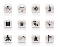 Beautiful Christmas And Winter Icons Stock Photos