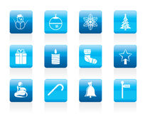 Beautiful Christmas And Winter Icons Stock Photo