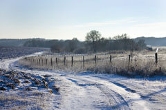 Beautiful Christmas winter landscape-field covered with white sn Royalty Free Stock Photo