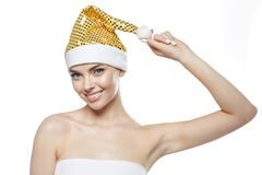 Free Beautiful Christmas Woman. Beauty Girl In The New Year. Model In A Santa Hat Stock Photos - 185584423