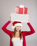 Beautiful christmas woman with gift Stock Photo