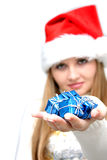Beautiful christmas woman with  gifts Royalty Free Stock Photography