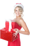 Beautiful christmas woman holding gifts Stock Photography