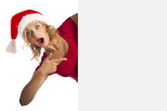 Beautiful Christmas Woman In Santa Hat Royalty Free Stock Images