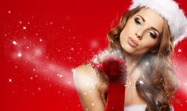 Beautiful christmas woman portrait Royalty Free Stock Image