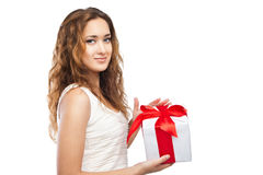 Beautiful Christmas woman with present isolated Stock Photos