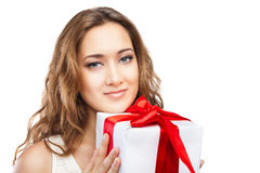 Beautiful Christmas woman with present isolated Stock Image