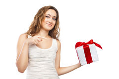 Beautiful Christmas woman with present isolated Stock Photo