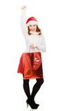 Beautiful christmas woman in santa hat Royalty Free Stock Image