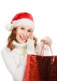 Beautiful christmas woman in santa hat Stock Photos